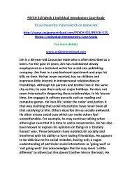 new PSYCH 515 Week 1 Individual Introductory Case Study