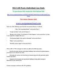 UOP MGT 448 Week 4 Individual Case Study