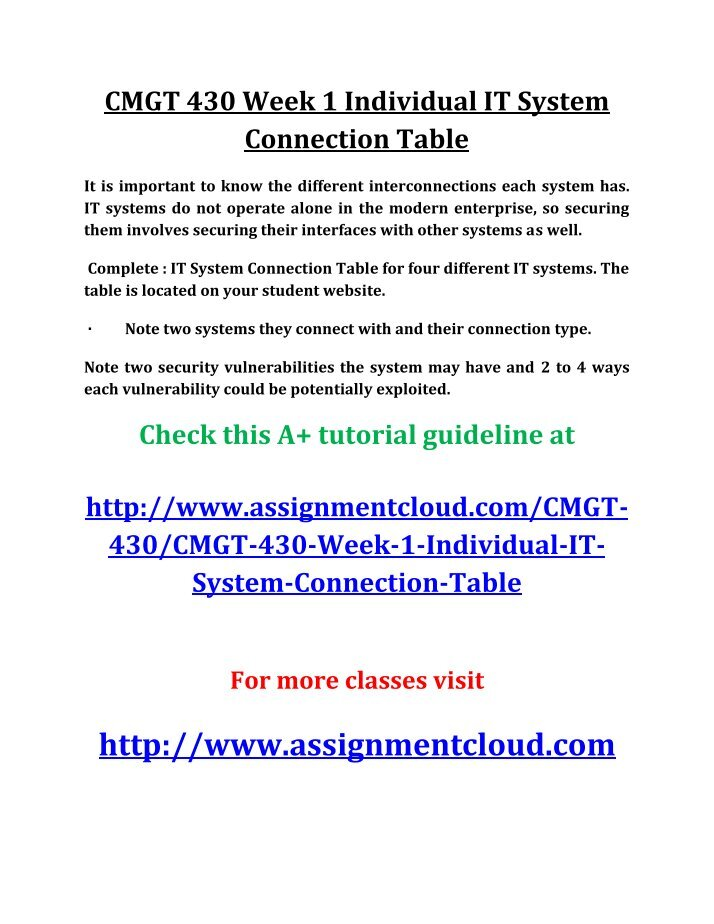 cmgt 430 it system connection table Uop cmgt 430 week 1 individual it systems connection table new (0) uop cmgt 430 week 1 individual it system connection table, uop cmgt 430, cmgt 430, uop cmgt 430 week 1 tutorial, cmgt 430 week 1 assignment, uop cmgt 430 week 1 help.