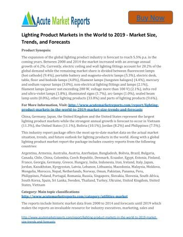 Global Lighting Product Markets in the World to 2019 Size, Industry Trends,Growth Prospects Till: Acute Market Reports