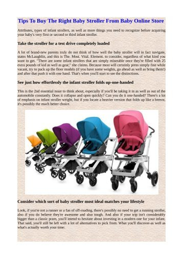 Tips To Buy The Right Baby Stroller From Baby Online Store