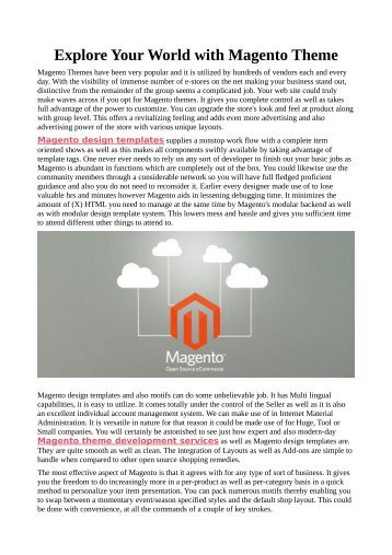 Explore Your World with Magento Theme