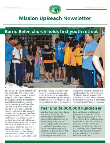 Mission UpReach Newsletter - November 2015