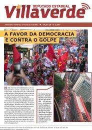 A FAVOR DA DEMOCRACIA E CONTRA O GOLPE