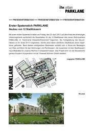 Erster Spatenstich PARKLANE Neubau von 12 Stadthäusern