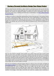Having a Personal Architects Design Your Home Project