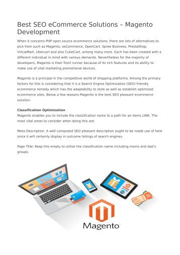 Best SEO eCommerce Solutions – Magento Development