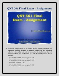 QNT 561 Final Exam Study  Guide