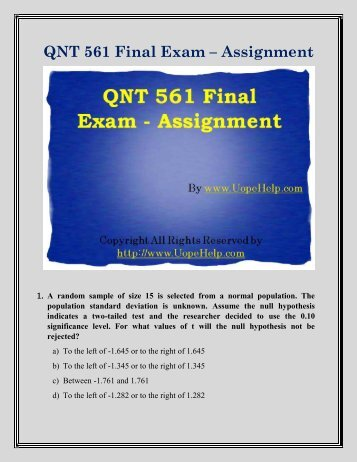qnt 561 final exam Get qnt 561 online courses tutoring help and assignments for university of phoenix students at transwebetutors.