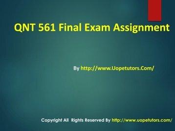 QNT 561 Final Exam University of Phoenix  New Courses
