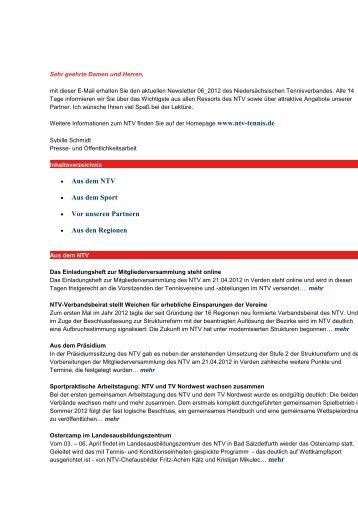 Newsletter Nr. 6 vom 16. März 2012 - NTV Region Oldenburger ...
