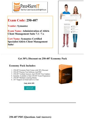 Pass4Sure 250­-407 Exam Questions & Practice Tests