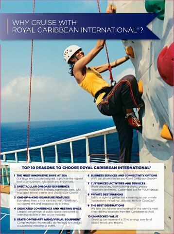 WHY CRUISE WITH ROYAL CARIBBEAN INTERNATIONAL®?