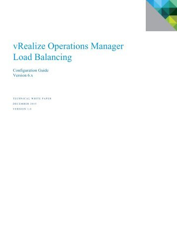vRealize Operations Manager Load Balancing