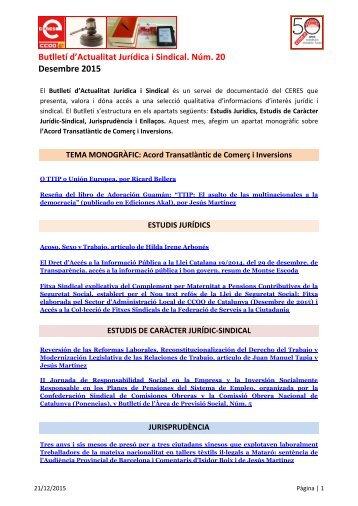 Butlletí d'Actualitat Jurídica i Sindical Núm 20 Desembre 2015