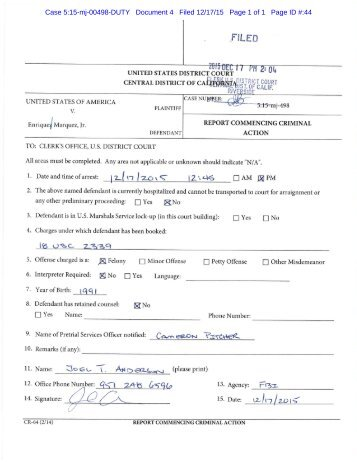 Case 5:15-mj-00498-DUTY Document 4 Filed 12/17/15 Page 1 of 1 Page ID #:44