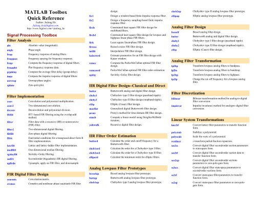 MATLAB Toolbox Quick Reference - Cheat Sheet