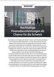 Nachhaltige Finanzdienstleistungen als Chance für die Schweiz