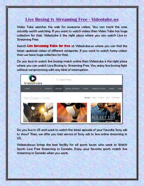 Sony live tv watch online free