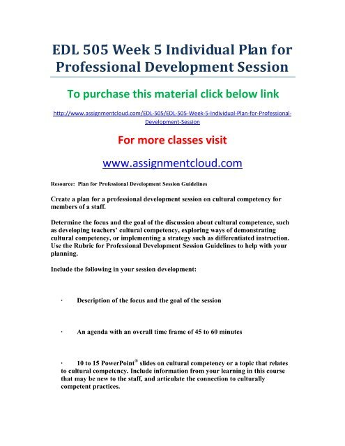 UOP EDL 505 Week 5 Individual Plan for Professional Development Session
