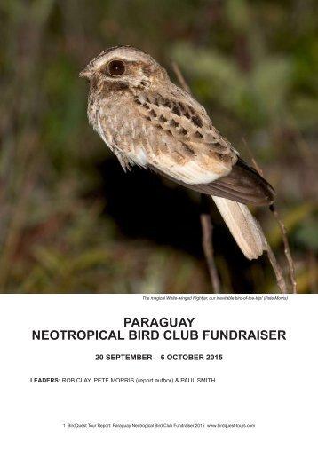PARAGUAY NEOTROPICAL BIRD CLUB FUNDRAISER