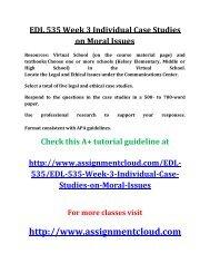 UOP EDL 535 Week 3 Individual Case Studies on Moral Issues