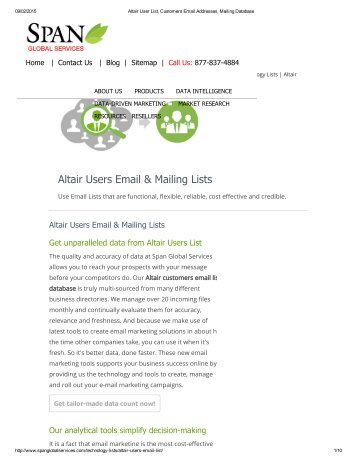 Buy Customized List of Altair using Companies in USA from Span Global Services