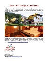 Resort Tariff Packages in Kullu Manali