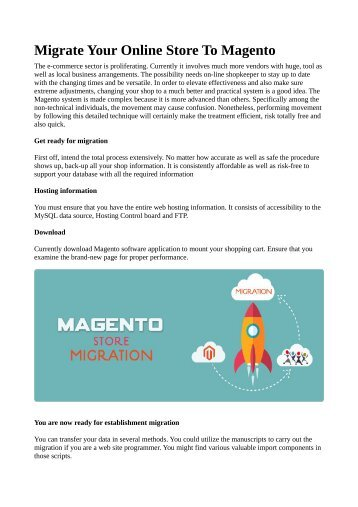 Migrate Your Online Store To Magento