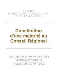 Constitution d'une majorité au Conseil Régional