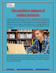 The positive impact of online lectures