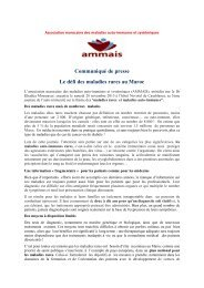 Le défi des maladies rares communiqué de presse  en français et en arabe