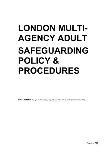 london multi agency adult safeguarding policy procedures