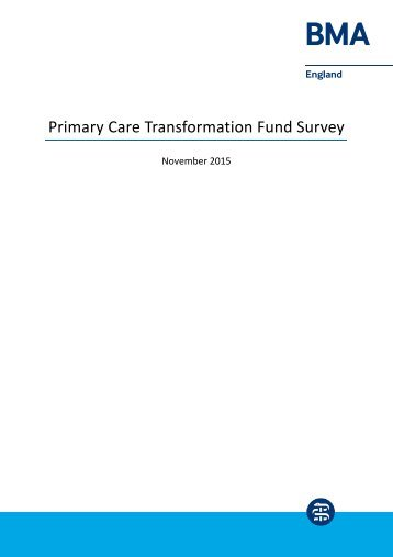 Primary Care Transformation Fund Survey