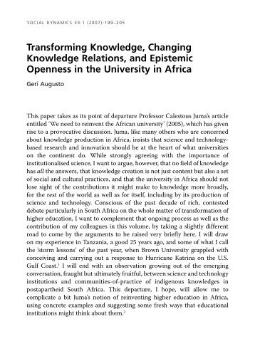 Transforming Knowledge, Changing Knowledge Relations, and ...
