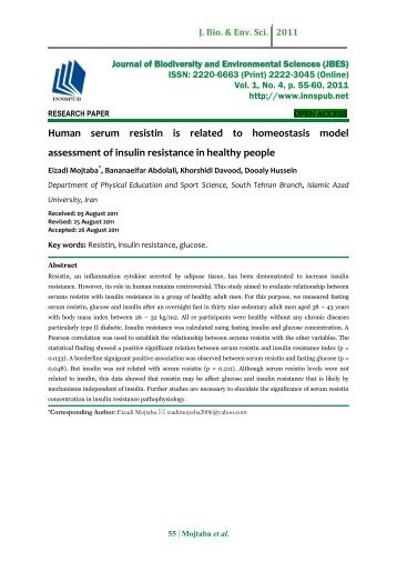 Human serum resistin is related to homeostasis model assessment of insulin resistance in healthy people
