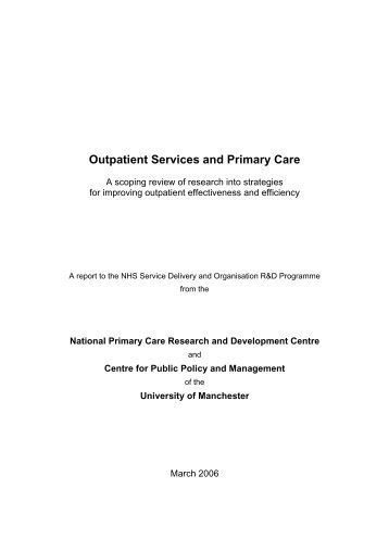 Outpatient Services and Primary Care - University of Manchester