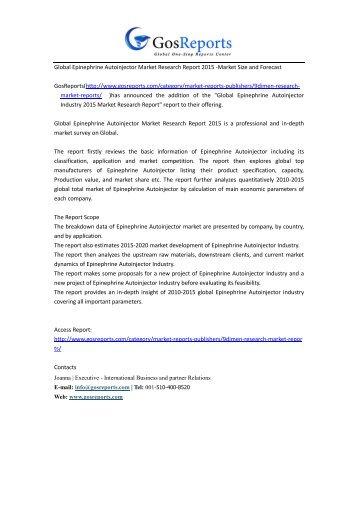 Global Epinephrine Autoinjector Market