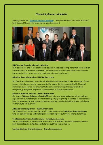 Financial planners Adelaide