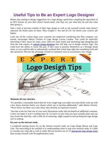 Useful Tips to Be an Expert Logo Designer