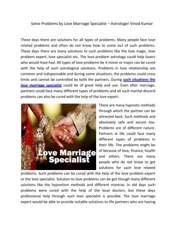 Solve Problems by Love Marriage Specialist