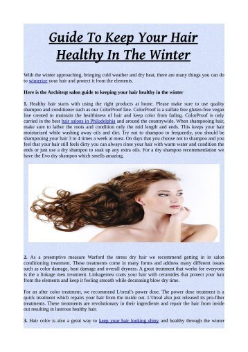 Guide To Keep Your Hair Healthy In The Winter