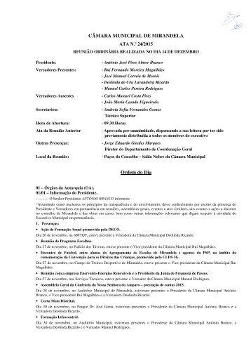 CÂMARA MUNICIPAL DE MIRANDELA ATA N.º 24/2015 Ordem do Dia