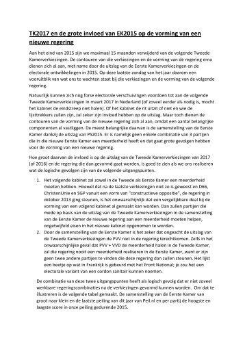 TK2017 en de grote invloed van EK2015 op de vorming van een nieuwe regering