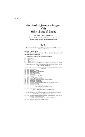 One Hundred Fourteenth Congress of the United States of America