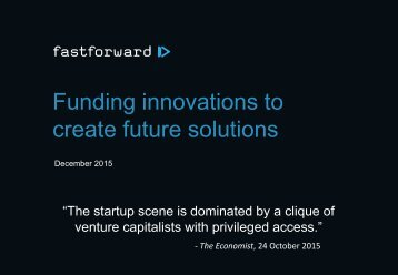 Funding innovations to create future solutions