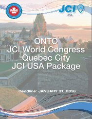 ONTO JCI World Congress Quebec City JCI USA Package