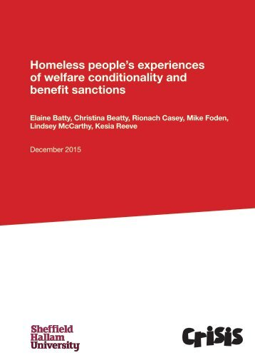 Homeless people's experiences of welfare conditionality and benefit sanctions