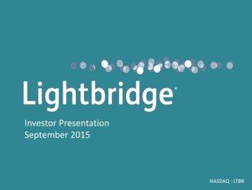Investor Presentation September 2015