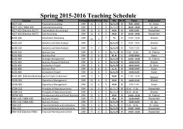 Spring 2015-2016 Teaching Schedule